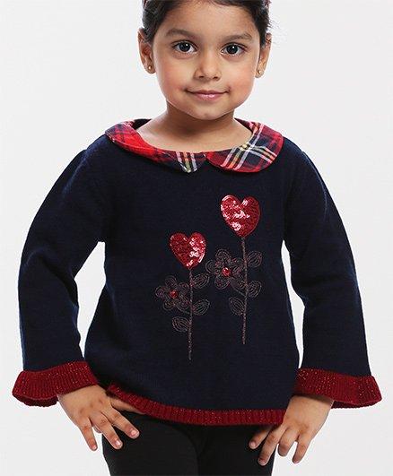 Babyhug Full Sleeves Pull Over Sweater Heart Sequin Design - Navy Blue
