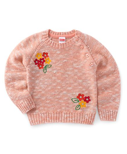 Babyhug Full Sleeves Pullover Sweater With Floral Design - Peach