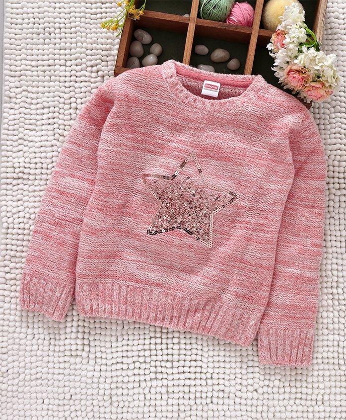 Babyhug Full Sleeves Pullover Sweater Sequin Star Design - Pink