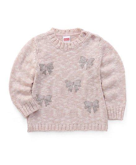 Babyhug Full Sleeves Pullover Sweater Bow Design - Light Peach