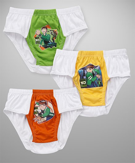 Ben 10 Dual Color Shade Printed Briefs Pack Of 3 - White Green Yellow Orange