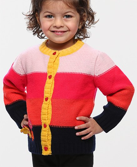 Babyhug Full Sleeves Front Open Tricolor Sweater With Floral Patches - Pink Coral Black