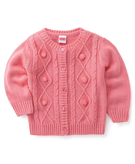 Babyhug Full Sleeves Front Open Sweater With Fishbone and Pom Pom Design - Pink