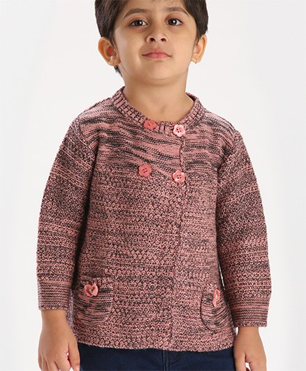 Babyhug Full Sleeves Front Open Cardigan With Twin Pockets - Black Peach