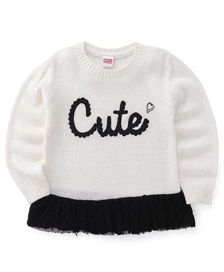 Babyhug Full Sleeves Pullover Sweater With Cute Print And Laced Hem - Off White