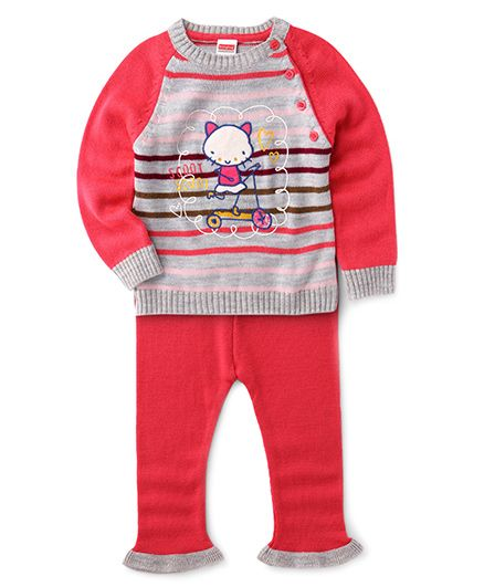 Babyhug Winter Wear T-Shirt With Kitty Patch And Pants - Fuchsia & Grey