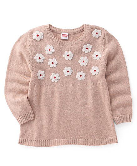 Babyhug Full Sleeves Pullover Sweater With Floral Motifs - Beige