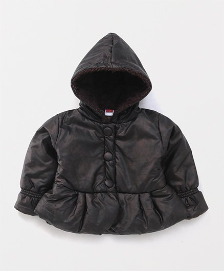 Babyhug Full Sleeves Hooded Jacket Balloon Pattern - Dark Brown