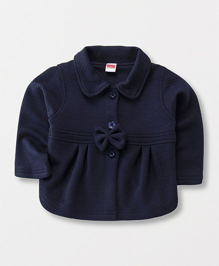 Babyhug Full Sleeves Front Open Solid Jacket With Bow - Navy