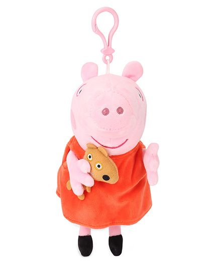 Peppa Pig With Bear Clip On Soft Toy Pink Orange & Brown - 19 cm