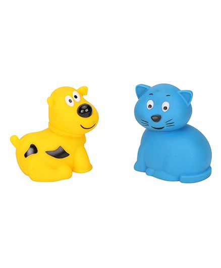 Giggles Animal Shaped Squeaky Bath Toys Pack of 2 - Blue Yellow