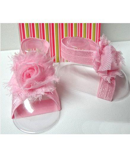 Akinos Kids Newborn Baby Elastic Rosset Shabby Flower Barefoot Sandals - Light Pink