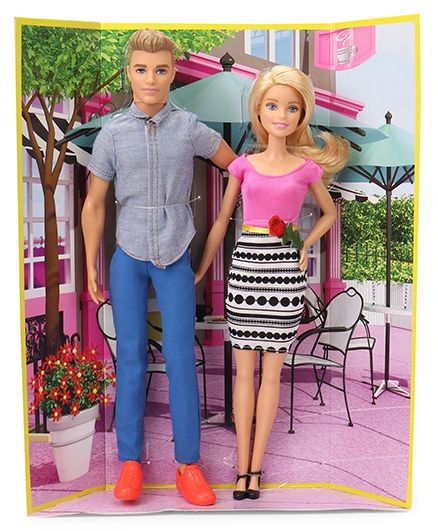 Barbie Ken Dolls Gift Set Blue Pink - 28 cm