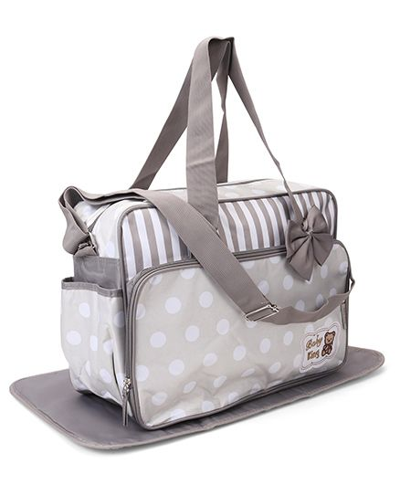 Polka Dot & Stripe Diaper Bag With Changing Mat Bow Applique - Grey White