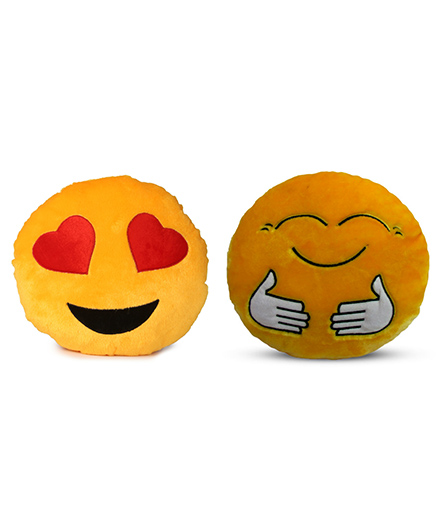Deals India Heart Eyes And Hugging Smiley Cushion - 35 Cm(smiley1&E)Set Of 2