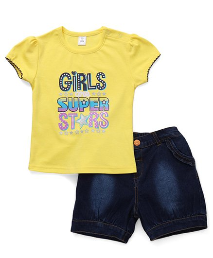 ToffyHouse Short Sleeves Top Printed And Denim Shorts - Yellow Blue