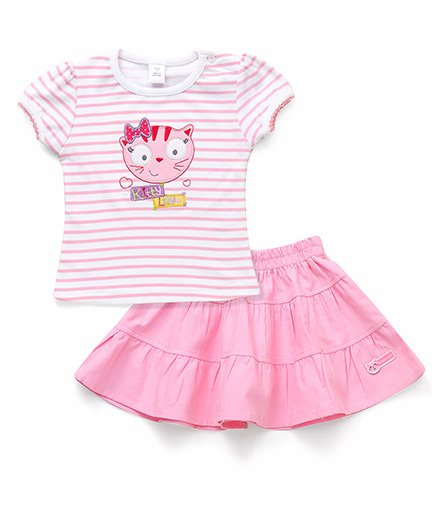 ToffyHouse Short Sleeves Stripe Top And Skirt Kitty Embroidery - Pink White