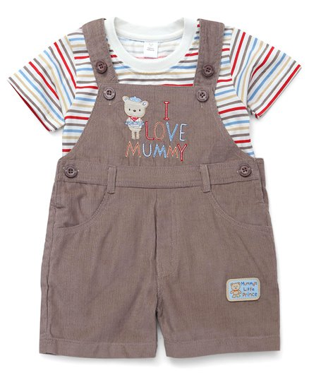 ToffyHouse Dungaree With Stripe T-Shirt Animal Embroidery - Brown White