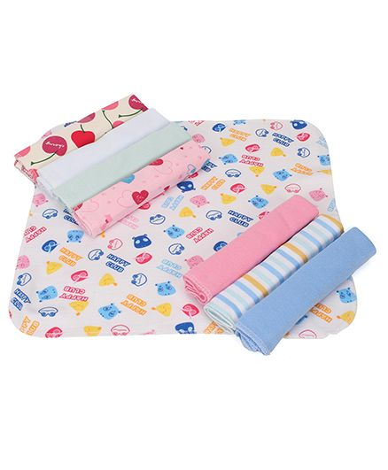 Babyhug Wash Clothes Printed Pack of 8 - White Multicolor