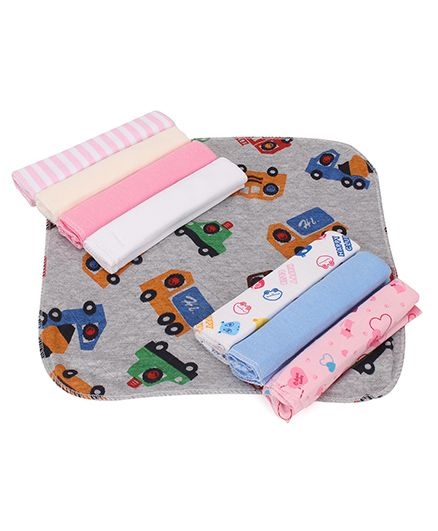Babyhug Wash Clothes Printed Pack of 8 - Grey Multicolor