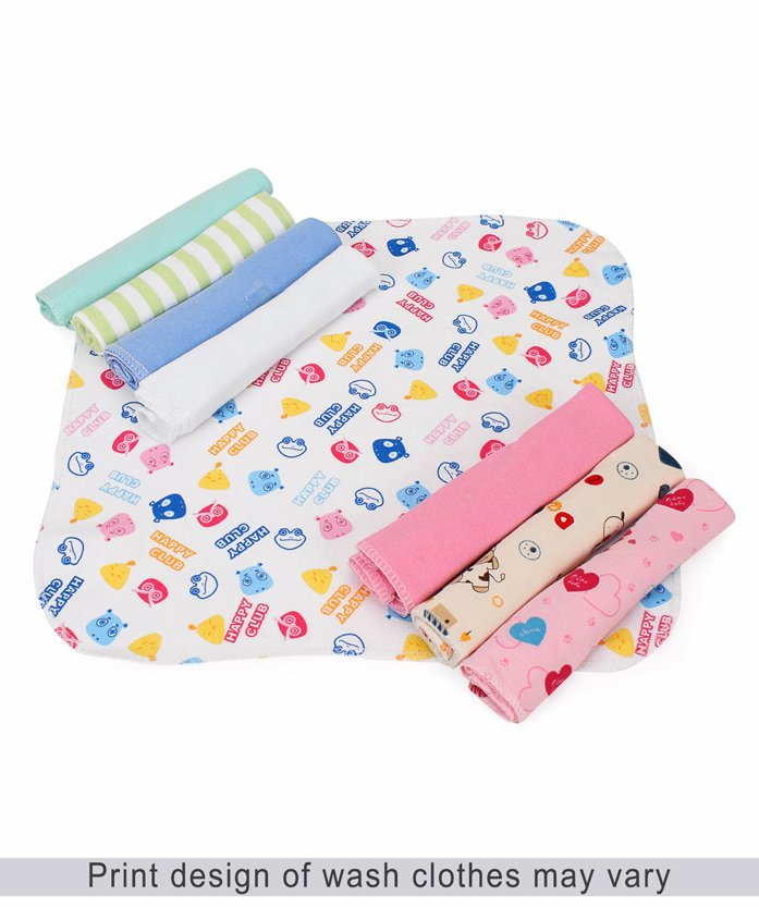 Babyhug Wash Clothes Pack of 8 Printed - White Multicolor