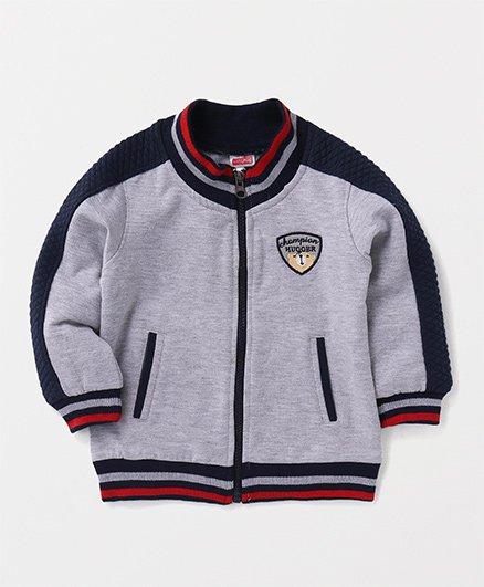 Babyhug Full Sleeves Sweat Jacket Champion Hugger Embroidery - Grey