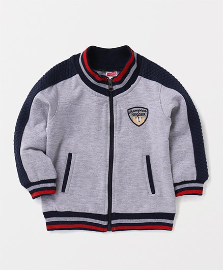 Babyhug Full Sleeves Sweat Jacket Champion Hugger Embroidery - Grey