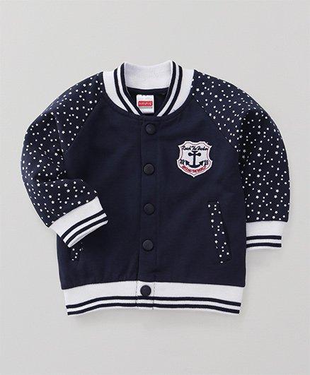 Babyhug Full Sleeves Sweatshirt Star Print - Navy Blue