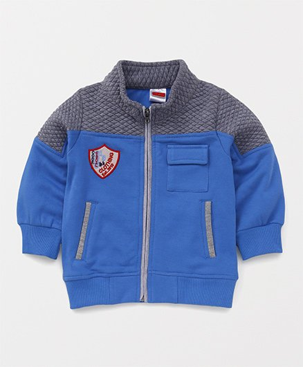 Babyhug Full Sleeves Sweat Jacket - Blue Grey