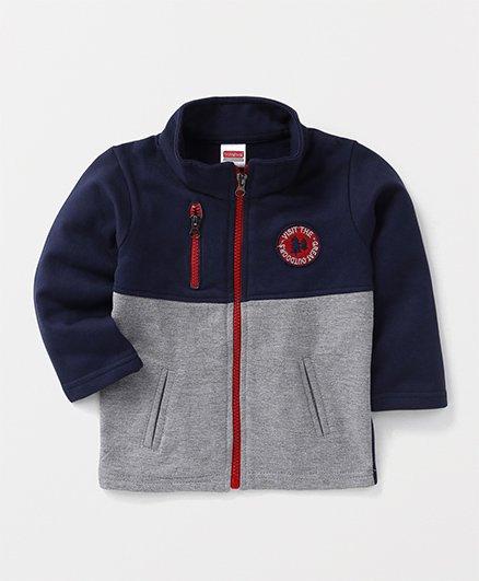 Babyhug Full Sleeves High Neck Sweatshirt With Pockets - Navy