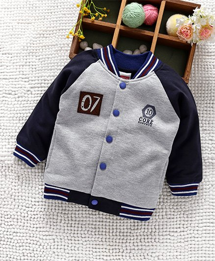 Babyhug Raglan Sleeves Sweat Jacket Numeric 07 Patch - Grey Blue