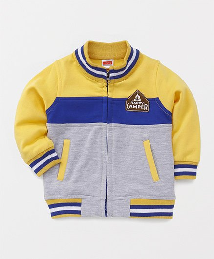 Babyhug Full Sleeves Sweat Jacket Happy Camper Patch - Yellow Grey