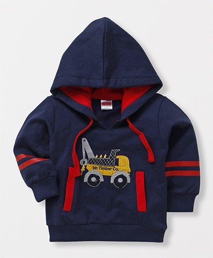 Babyhug Full Sleeves Hooded Sweatshirt Vehicle Patch - Navy Blue