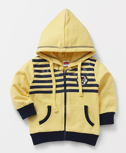 Babyhug Full Sleeves Hooded Sweat Jacket Stripes Pattern - Yellow