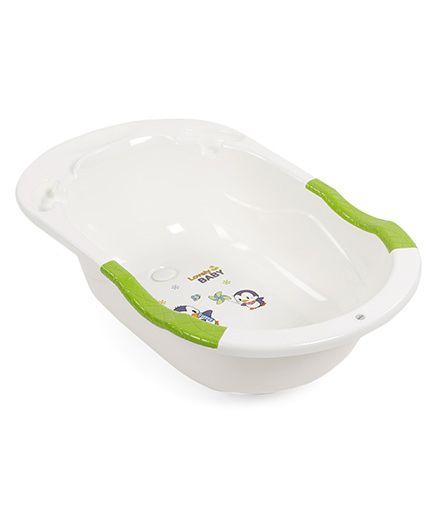 Baby Bath Tub With Penguin Print - Cream Green