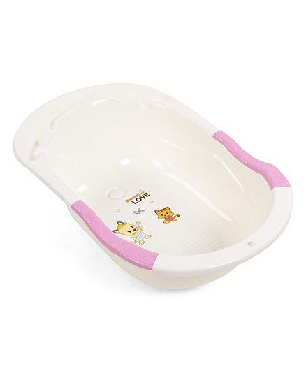 Baby Bath Tub Cartoon Print - Pink Light Cream
