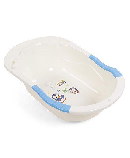 Baby Bath Tub Penguin Print - Blue & Cream