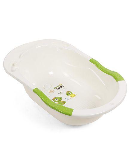 Baby Bath Tub Dino Print - Green & Cream