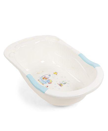 Baby Bath Tub With Animal Print - Cream Aqua Green