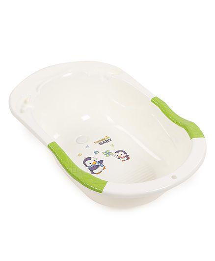 Baby Bath Tub Penguin Print - Cream Green