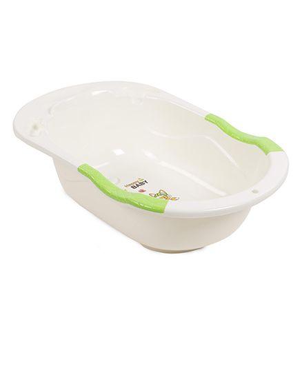 Bath Tub Happy Baby Print - Cream Green