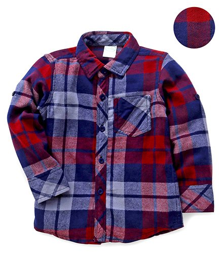 Babyhug Full Sleeves Checks Shirt - Maroon & Navy