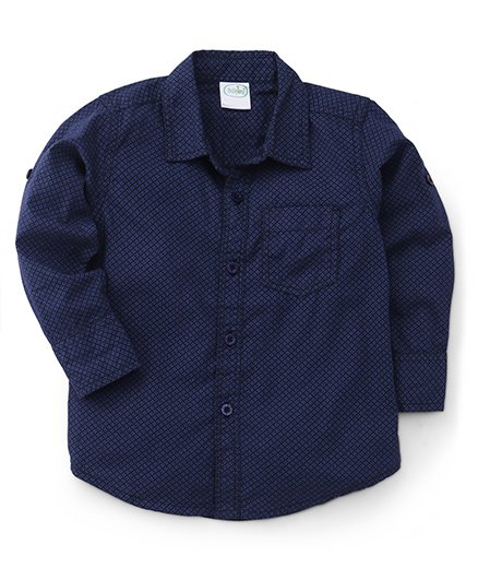 Babyhug Full Sleeves All Over Print Shirt - Navy Blue