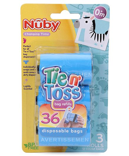 Nuby Tie N Toss Diaper Dispenser Bags - 36 Pieces