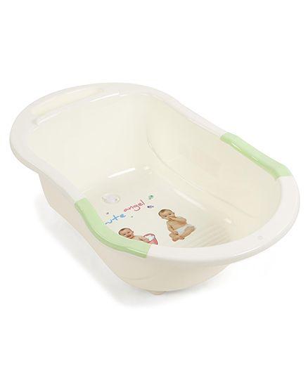 Baby Bath Tub - Off White Green