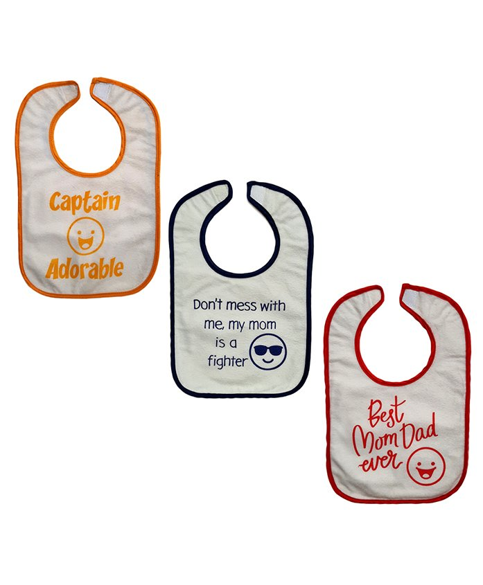 Nahshonbaby Bibs Quote Printed Pack of 3 - Red Yellow Blue