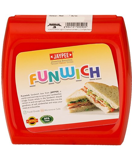 Jaypee Sandwich Lunch Box With Spoon - Red
