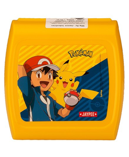 Jaypee Sandwich Lunch Box With Spoon Pokemon Print - Yellow