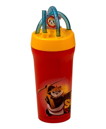 Jaypee Tumbler With Straw Kung Fu Panda Print Red - 300 ml