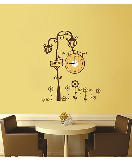 Syga Royal Lamp Wall Sticker Clock Design - Brown